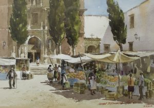 Market at San Miguel, Media: Watercolor on Paper